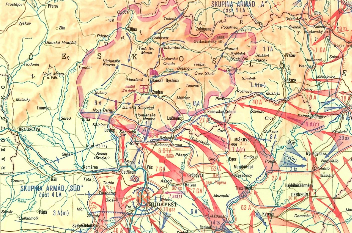 Mapa bojov na južnom Slovensku v rámci Budapeštianskej operácie