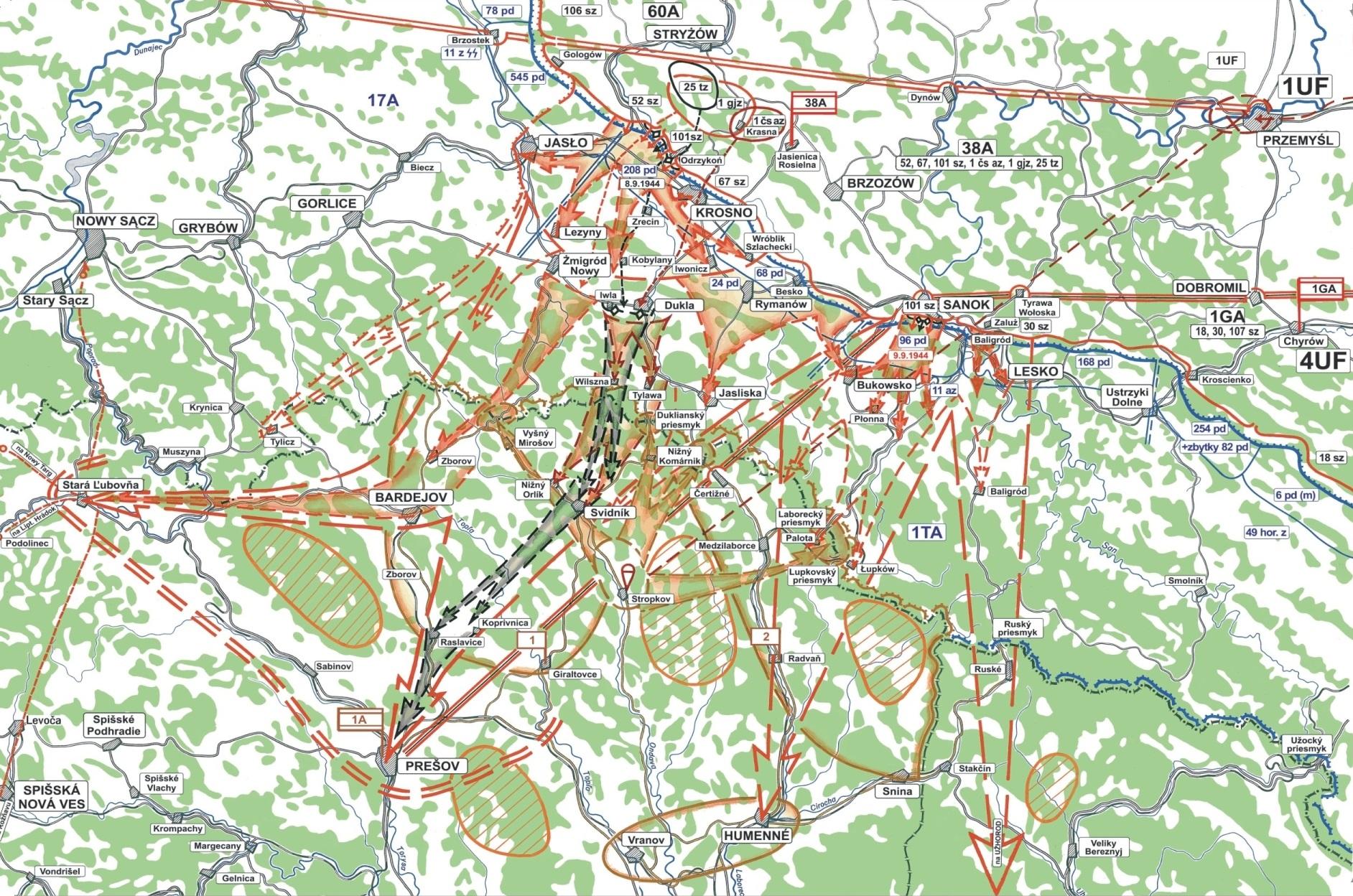 Mapa bojov o Dukliansky priesmyk 1944
