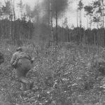 Soviestky priekumníci útočia v rámci boja na obranné pozicie nepriateľa. Silne zalesnený a hornatý terén poskytoval ideálne podmienky pre nemecké jednotky na svojich pozíciach.